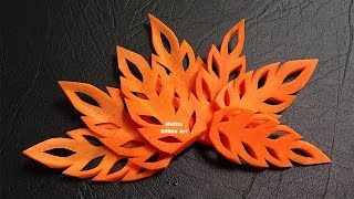 Simple Carrot Leaf Design - Beginners Lesson 17 By Mutita The Art Of Fruit And Vegetable Carving