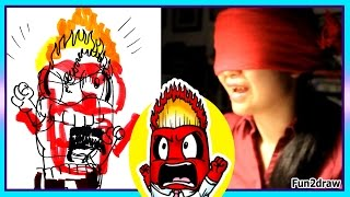 getlinkyoutube.com-Drawing Anger Inside Out - BLINDFOLD CHALLENGE - Try NOT to Laugh   Fun2draw