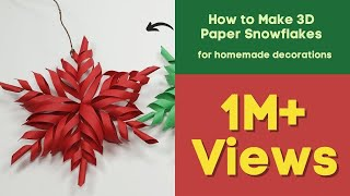 getlinkyoutube.com-3D Snowflake DIY Tutorial - How to Make 3D Paper Snowflakes for homemade decorations