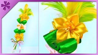 DIY Small ribbon Easter palm, kanzashi narcissus jonquilla (ENG Subtitles) - Speed up #332