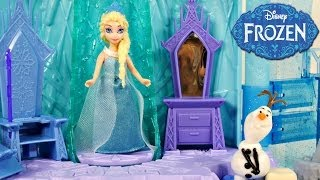 getlinkyoutube.com-Frozen Elsa's Ice Lightup Palace Featuring Olaf Play Doh Bed Toys Review by Disney Cars Toy Club