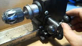 getlinkyoutube.com-HOMEMADE LATHE  (from old drill press )