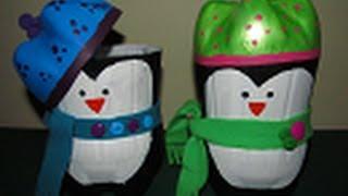getlinkyoutube.com-Dulcero/Bolo de Pingüino Navideño - Reciclaje PET - floritere - 2012