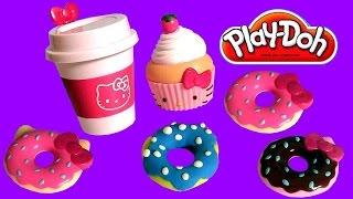 getlinkyoutube.com-Play Doh Hello Kitty Donuts For Breakfast Play-Dough Beignets Doughnuts キャラクター練り切り ハローキティ