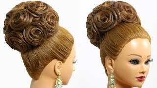 getlinkyoutube.com-Bridal wedding updo. Hairstyle for long medium hair with extensions