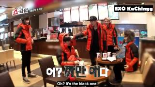 [ENGSUB] 131226 EXO Ep5 Fangirl Attack 휴게소에서 EXO 소녀팬 역할놀이
