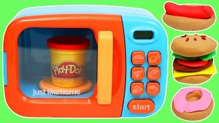 getlinkyoutube.com-Play Doh Food Cooking Microwave Oven Play Dough Hamburger Donut Hotdog Pizza & More!