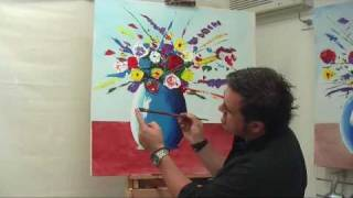 getlinkyoutube.com-Art Lesson: How to Paint an Abstract Explosion of Flowers Using Acrylic Paint