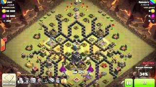 getlinkyoutube.com-Clash of Clans Clan War Hog Rider Rampage th9 spider base 3 stars