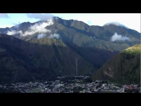 Tungurahua volcano and the town of Banos, Ecuador.