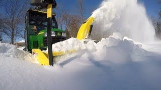 John Deere X748 - Clearing a Path for the Dog - 20150228