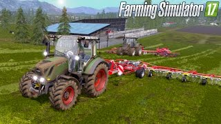 getlinkyoutube.com-Farming Simulator 17 - Windrowing & Tedding (Fendt 300 Vario Pöttinger HIT 12.14 T)