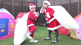 getlinkyoutube.com-サンタクロース 修業 サンタごっこ プレゼントを届けるゾ!! こうくんねみちゃん Santa Claus training Play Santa