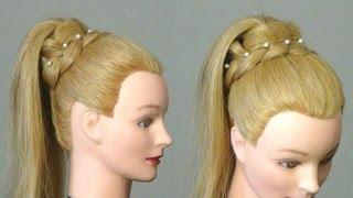 getlinkyoutube.com-Прическа.: Хвост с ажурной косой. Easy  braided hairstyle for long hair