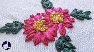 getlinkyoutube.com-Hand Embroidery Tutorials | Ribbon Stitches | HandiWorks #32