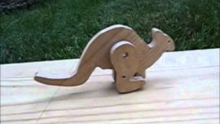 Wood hopping kangaroo toy