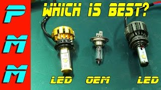 getlinkyoutube.com-LED Head Light Bulb Shoot Out! Aux Beam vs HID Extra Razir LED head light bulbs comparison