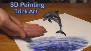 getlinkyoutube.com-Delfin gemalt in Öl als Anamorphe Optische Täuschung in 3D
