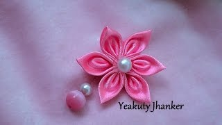 getlinkyoutube.com-DIY: How to make Kanzashi ribbon flower - brooch/ hijab pin