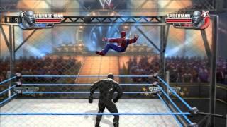 getlinkyoutube.com-WWE All Stars (Spiderman Vs. Bondageman) (25 min. Cage Match) (HD)