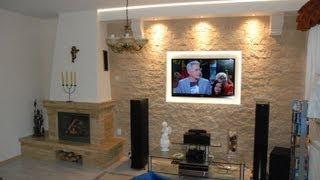 Ściana TV, w kamieniu ozdobnym, dekoracyjnym. TV Wand, decorative stone, ornamental