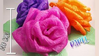 getlinkyoutube.com-COMO HACER FLORES DE PAPEL CREPE GRANDES | Fáciles y bonitas