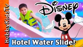 getlinkyoutube.com-Disney Fireworks + Pool Slide! Mickey Mouse Pancakes Grand Californian Hotel HobbyKidsTV