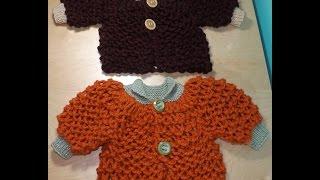 getlinkyoutube.com-Como tejer abrigo o suéter para bebé  a dos agujas