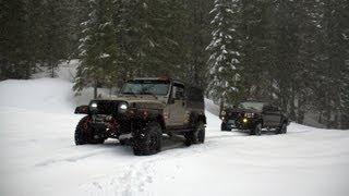 getlinkyoutube.com-Deep Snow Jeep Wrangler and Toyota Tacoma Snowrun to Elk Lake in Oregon
