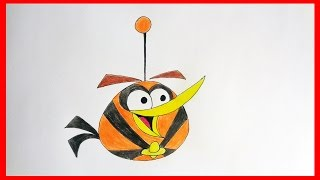 How to draw Atomic Bird from Angry Birds Space