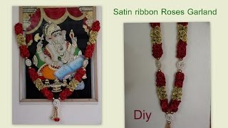 getlinkyoutube.com-Diy Roses Garland with satin ribbon
