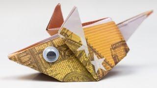 getlinkyoutube.com-Geldgeschenk Idee: Maus falten, Origami Anleitung