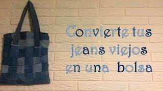getlinkyoutube.com-Bolsa hecha de jeans viejos !!!