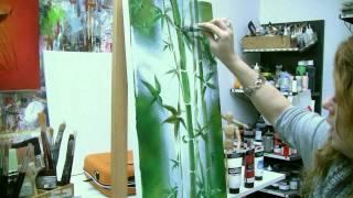 getlinkyoutube.com-Acrylmalen: Malen lernen, Anleitung zum Bambus/ Acrylic painting Tutorial Demo, bamboo painting