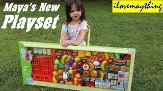 getlinkyoutube.com-Kitchen Toy Set for Little Girls: Maya's New Grocery Shopping Cart Set