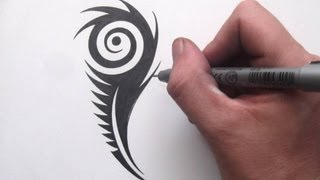 getlinkyoutube.com-How to Draw a Peacock Feather - Tribal Tattoo Design Style