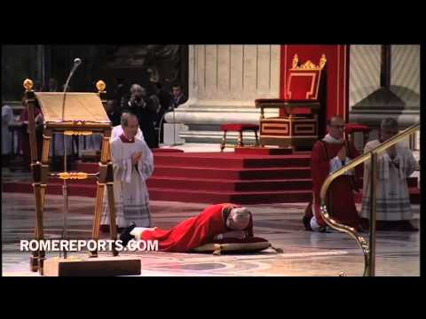 Pope Francis prays face down  in penitence  on  Good Friday