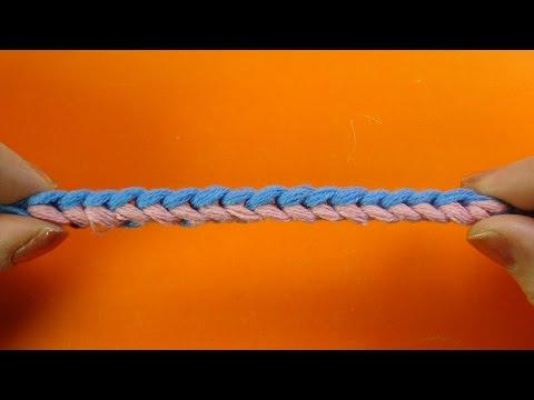 Двухцветный шнурок крючком Crochet cord  Урок 359