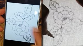 runing stitch flower embroidery|how to draw pattern with easy trick|for beginners|:hand embroidery
