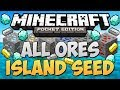 DIAMOND SEED & All Ores Under Island - Minecraft Pocket Edition