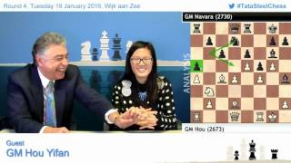 getlinkyoutube.com-4- Hou Yifan amazing win against Navara, Post game Chess Analysis - Tata Steel Chess 2016