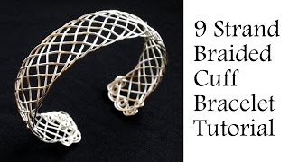 "getlinkyoutube.com-Jewelry Tutorial : 9 Strand ""Viking"" Weave Braided Bracelet - Intermediate Wire Wrapping"