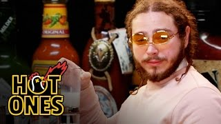 Post Malone Sauces on Everyone While Eating Spicy Wings | Hot Ones width=