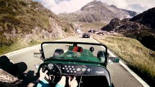 getlinkyoutube.com-Caterham 485 on Sustenpass //pure roads  (Porsche Turbo, Cayman S and Nissan GT-R 2015)