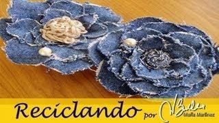 getlinkyoutube.com-Reciclando: Broche de tela vaquera inspirado en Chanel (Camelia) / DIY Chanel Camelia Denim Brooch