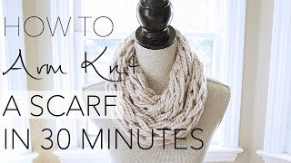 getlinkyoutube.com-DIY Arm Knitting - 30 Minute Scarf - With Simply Maggie