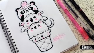 getlinkyoutube.com-♥ Kawaii Animals Ice Cream ♥ Panda, Koala and Cat ♥ Doodles ♥ Easy Drawings by Garbi KW