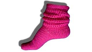 getlinkyoutube.com-How to crochet socks / slippers tutorial - © Woolpedia