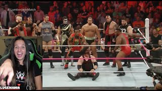 getlinkyoutube.com-WWE Raw 10/12/15 Kane vs Seth Rollins LumberJack Match
