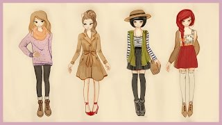getlinkyoutube.com-❤ Drawing Tutorial - How to draw 4 Fall Outfits ❤